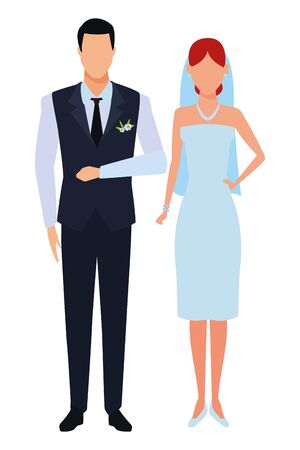 groom and bride avatar cartoon character vector illustration graphic design Banque d'images - 124724477
