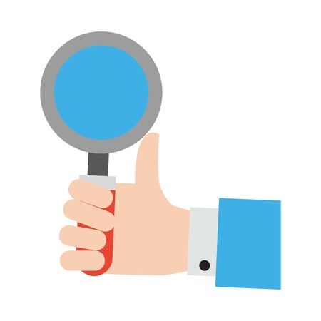 hand with magnifying glass icon cartoon vector illustration graphic design Иллюстрация