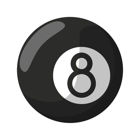 Pool eight ball cartoon isolated black and white Ilustração