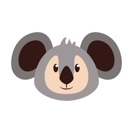 Koala head wildlife cute animal cartoon isolated vector illustration graphic design