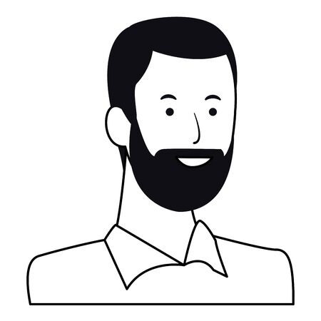 man portrait avatar cartoon character with beard black and white vector illustration graphic design