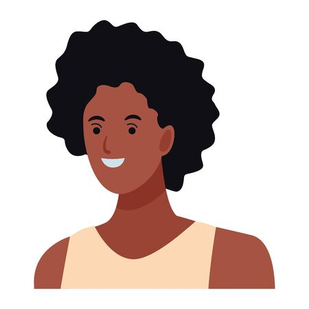 woman afro avatar cartoon character portrait profile style Иллюстрация