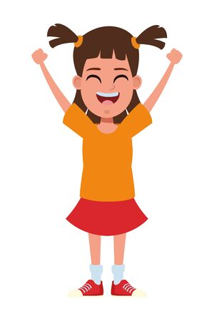 young little kid girl with pigtails and hands up avatar cartoon character portrait vector illustration graphic design