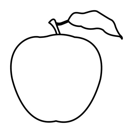 apple icon cartoon isolated black and white vector illustration graphic design Ilustrace