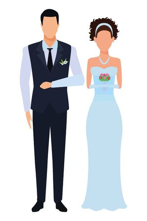 groom and bride avatar cartoon character vector illustration graphic design Banque d'images - 124724667