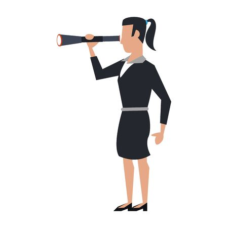 business woman using telescope avatar cartoon character vector illustration graphic design Imagens - 124724675
