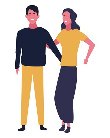 Boyfriend and girlfriend couple smiling vector illustration graphic design