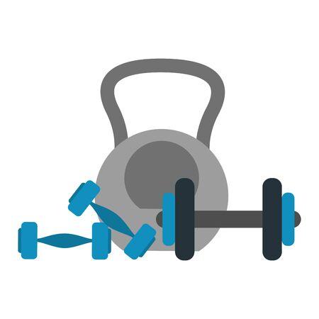 Gym equipment dumbbells and kettlebell  vector illustration graphic design