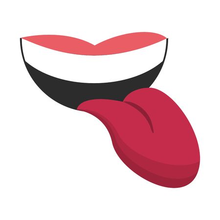 Mouth with tongue out cartoon isolated
