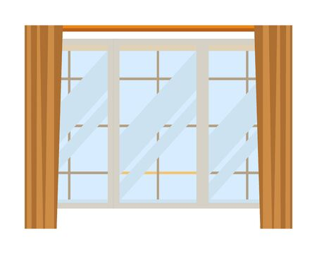 house window with curtains icon cartoon isolated vector illustration graphic design vector illustration graphic design Çizim