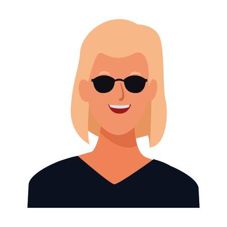 woman avatar cartoon character portrait profile style