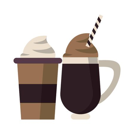 coffee cafe concept coffee shop elements ice drinks cartoon vector illustration graphic design 写真素材 - 124715424