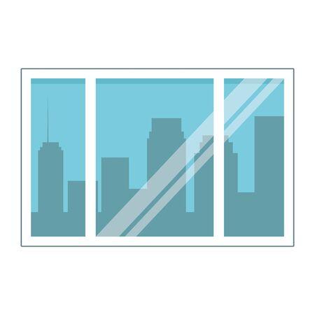 cityscape silhouette through the window icon cartoon vector illustration graphic design