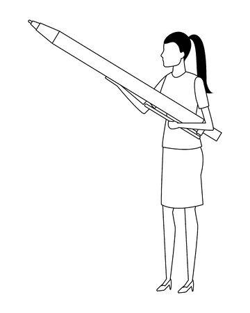 Businesswoman with pen cartoon vector illustration graphic design