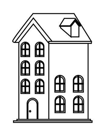 house icon isolated black and white vector illustration graphic design