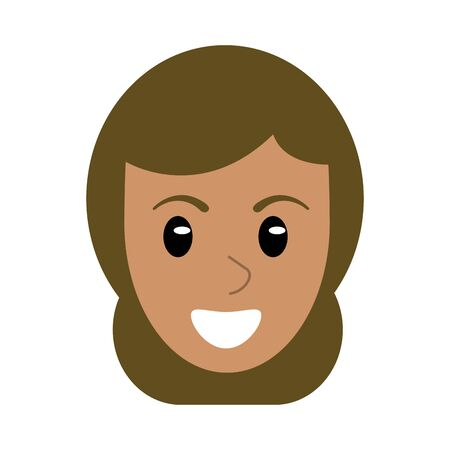 Woman face smiling cartoon isolated vector illustration graphic design Ilustração