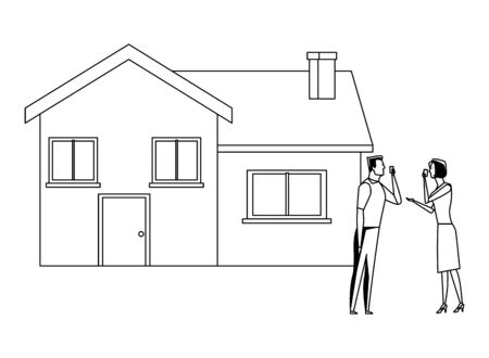 couple and house icon cartoon black and white vector illustration graphic design