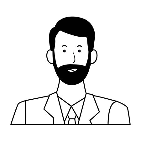 man portrait avatar cartoon character with beard and tie black and white vector illustration graphic design