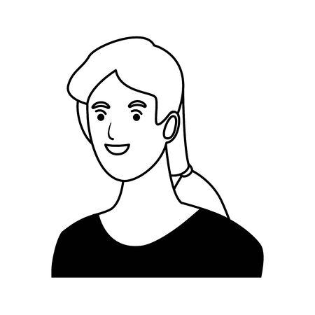 woman avatar cartoon character portrait profile style  vector illustration graphic design