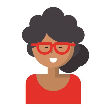 Young woman smiling with glasses vector illustration graphic design