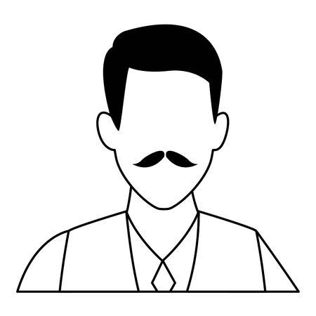 old man portrait faceless avatar cartoon character  vector illustration graphic design Çizim