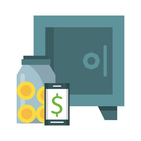 Business money and investment elements with symbols vector illustration graphic design Imagens - 124724594