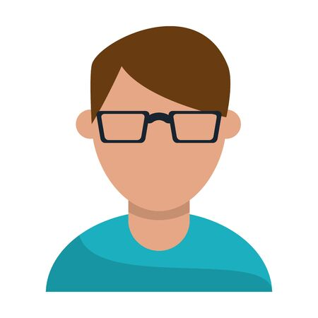 Man with glasses faceless avatar profile vector illustration graphic design