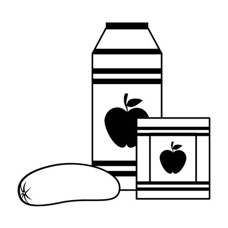 Apple juice bottle and box drinks with sausage vector illustration graphic design Ilustracja