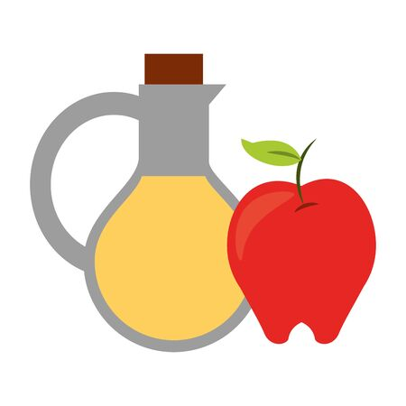 Healthy food olive oil bottle and apple vector illustration graphic design Ilustracja