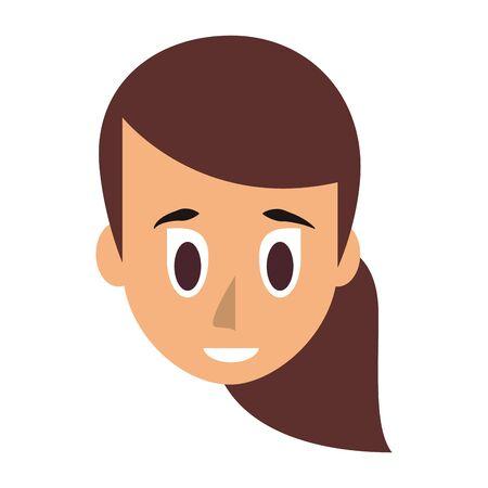 Young woman face head cartoon vector illustration graphic design Иллюстрация