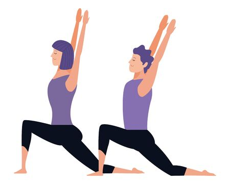 couple yoga poses avatars cartoon character with short hair vector illustration graphic design