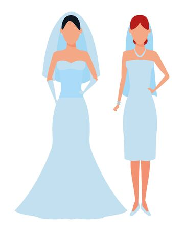 women wearing wedding dress avatars cartoon characters vector illustration graphic design Иллюстрация