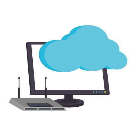 Cloud computing technology computer monitor with wifi router vector illustration graphic design