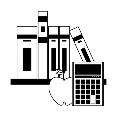 Education and school supplies books in shelf and calculator with apple cartoons vector illustration graphic design
