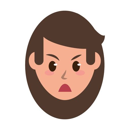 Woman face angry cartoon character isolated vector illustration graphic design