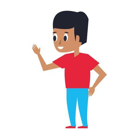 young man greeting cartoon vector illustration graphic design