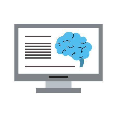 Computer analyzing human brain artificial intelligence vector illustration graphic design