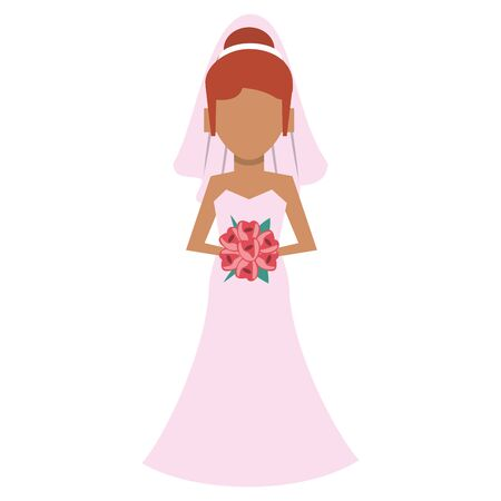 Wedding bride avatar cartoon vector illustration graphic design