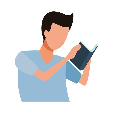 faceless man reading book vector icon illustration graphic design Ilustrace