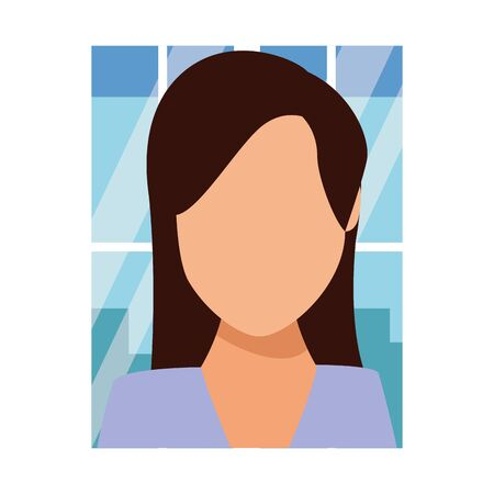 Businesswoman avatar faceless profile over office window frame vector illustration graphic design