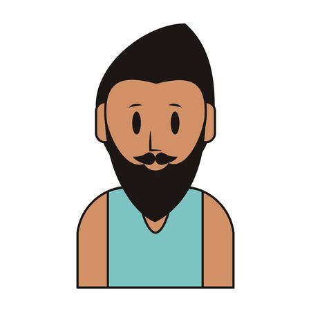 young man person upper body with beard cartoon vector illustration graphic design