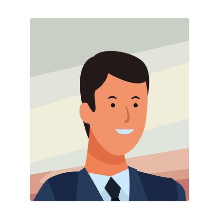 man portrait avatar cartoon character wearing tie vector illustration graphic design Stock Illustratie
