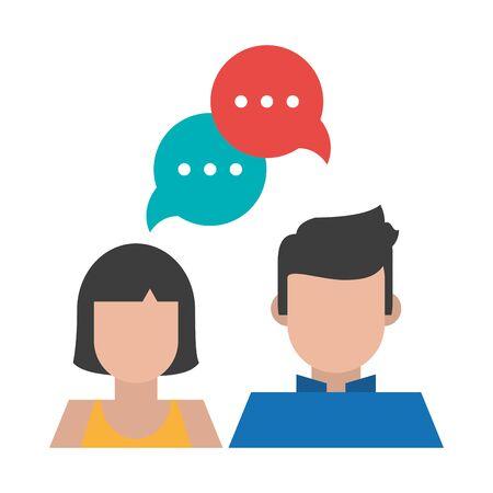 couple with speech bubble icon cartoon vector illustration graphic design Stock Illustratie