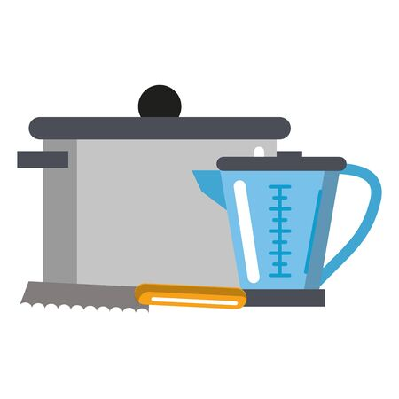 Kitchen utensils and supplies cartoons vector illustration graphic design Çizim