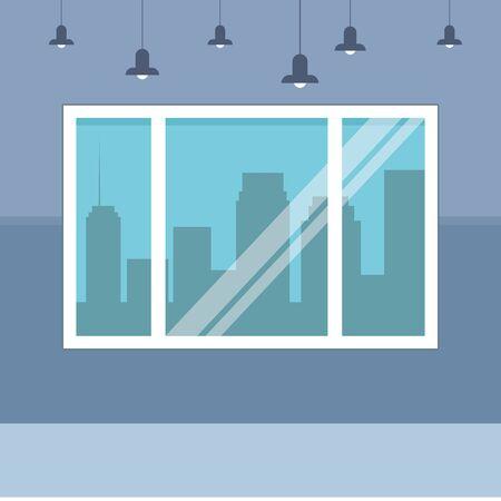cityscape silhouette through the window icon cartoon office background vector illustration graphic design Illustration
