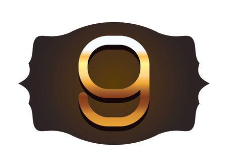 nine gold font number in vintageframe label isolated vector illustration Çizim