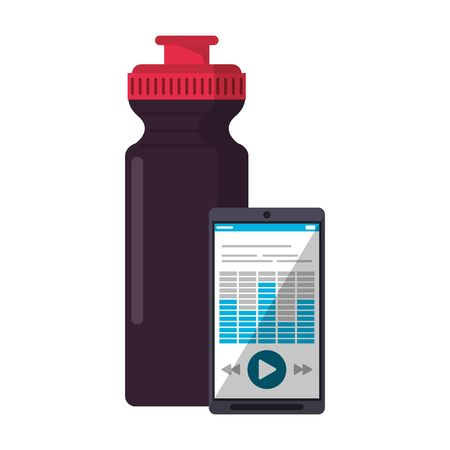 Smartphone with music and water bottle vector illustration graphic design Ilustrace