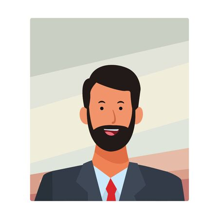 man portrait avatar cartoon character with beard and tie vector illustration graphic design