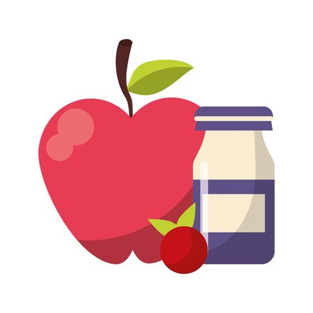 Apple and red fruit with yogurth bottle vector illustration graphic design Illustration