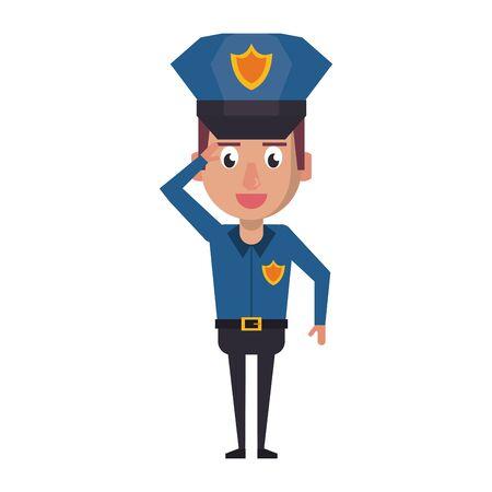 policeman working avatar cartoon character portrait vector illustration graphic design